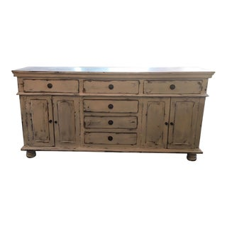 Shabby Chic White Hand Painted Distressed Buffet For Sale