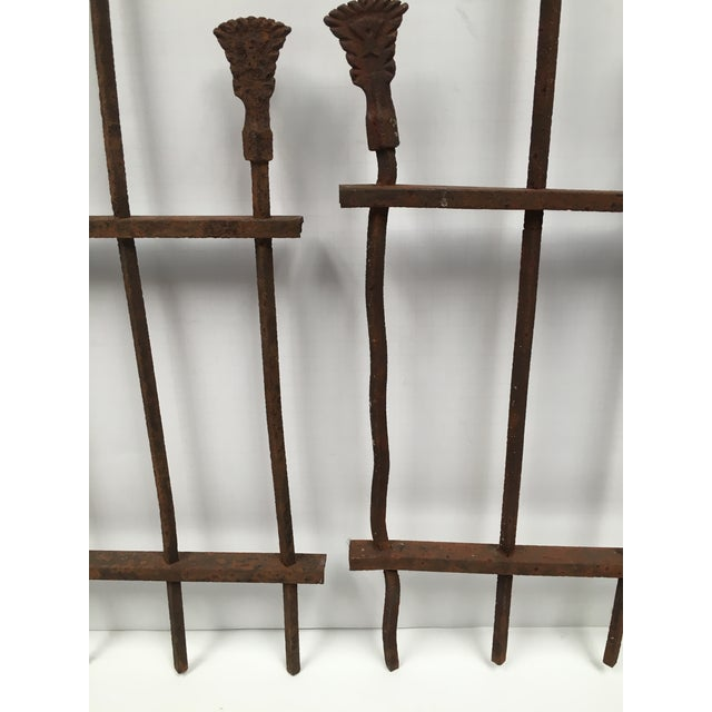 Antique Iron Fence Remnants - A Pair For Sale - Image 4 of 7