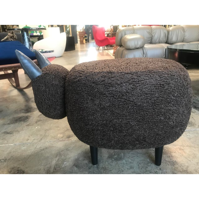 Contemporary Carved Wood Dark Brown Sheep Ottoman For Sale - Image 3 of 9