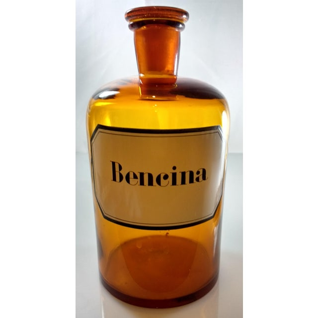 Vintage Amber Glass Bencina Apothecary Bottle - Image 2 of 10