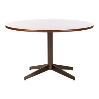 1970s Mid Century Modern Round Walnut Dining Table For Sale