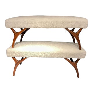 Mid-Century Modern Pair of Window Benches or Stools in Sherpa Upholstery For Sale