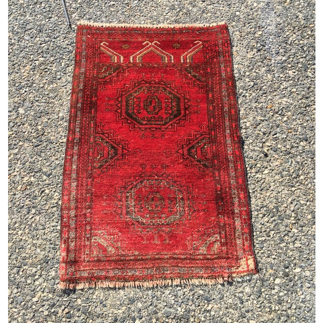 "Antique Turkaman Red Persian Rug - 1'10"" x 2'10"" - Image 2 of 7"