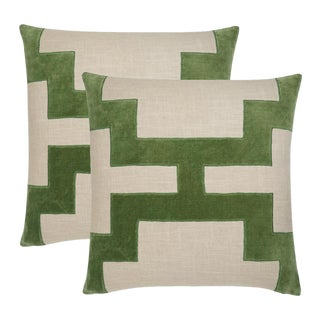 "Piper Collection Green Velvet ""Catie"" Pillows - a Pair"