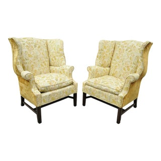 Vintage English Chippendale Wingback Upholstered Library Office Arm Chairs - a Pair For Sale