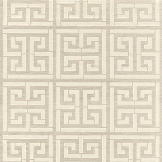 Sample - Schumacher Greek Key Sisal Wallpaper in Silver For Sale