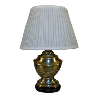 Vintage Frederick Cooper Brass Urn Table Lamp with Shade For Sale