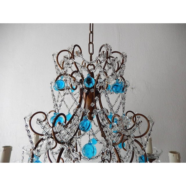 Glass French Blue Murano Balls Beaded Swags Chandelier, circa 1900 For Sale - Image 7 of 13