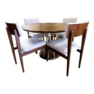 Thomasville Furniture Ellen Degeneres Lafitte Mid-Century Modern Walnut Round Dining Table Set For Sale