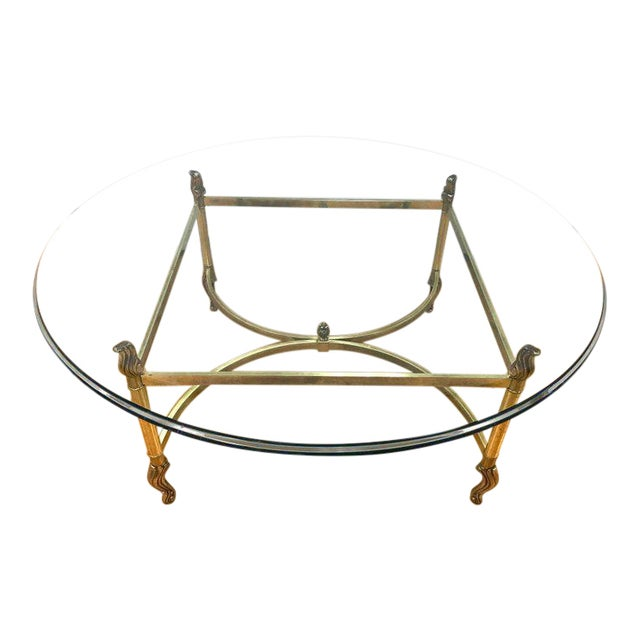 High End Round Coffee Tables: High-End Midcentury Brass And Glass Round Coffee Cocktail