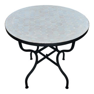 White Moroccan Mosaic Table For Sale