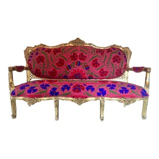 20th Century Boho Chic Red and Hot Pink Velvet French Settee