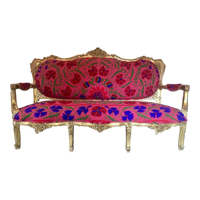 20th Century Boho Chic Red and Hot Pink Velvet French Settee - Image 1 of 11