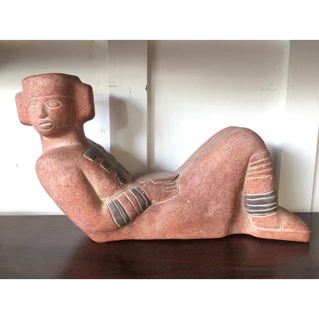 Mayan Clay Chacmool Statue For Sale - Image 11 of 11