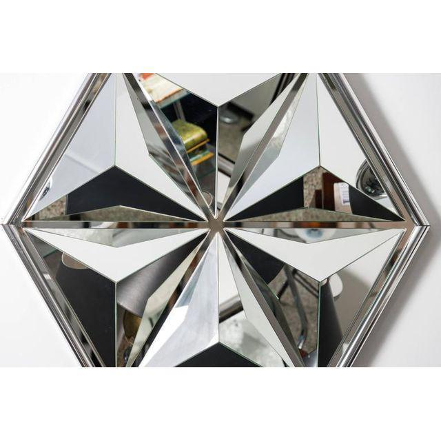 Mid 20th Century Polished Chrome Polygon Shaped Wall Mirror For Sale - Image 5 of 10
