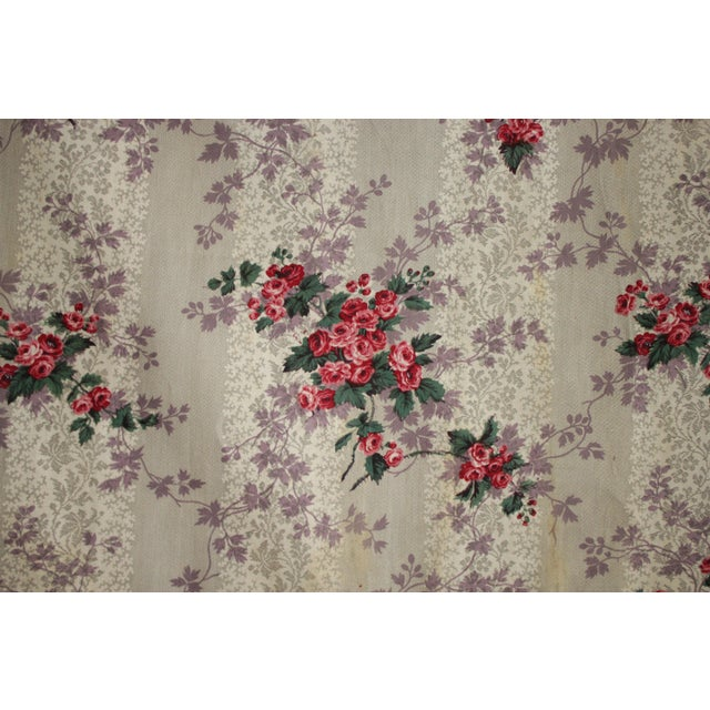 Textile French Fabric Floral 1860 Purple And Pink Rose Design For Sale - Image 7 of 11