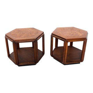 Mid-Century Modern Hexagonal Side Tables by John Keal for Brown Saltman - a Pair For Sale