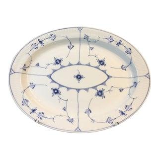 Vintage Mid-Century Modern Large Blue Plain Half Lace Large Oval Platter For Sale