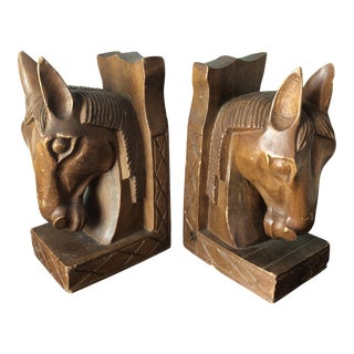 1970s Vintage Equestrian Wooden Book Ends- A Pair For Sale