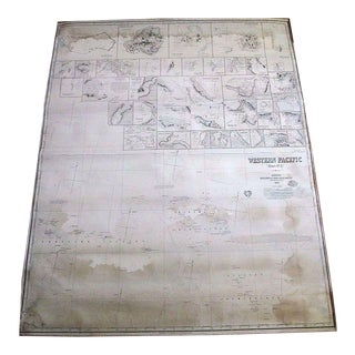 Huge Antique Nautical Chart/Map-Western Pacific-1875 For Sale