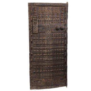 """Stunning Lg Dogon Door W/ Figures Mali African 69 """" H For Sale"""