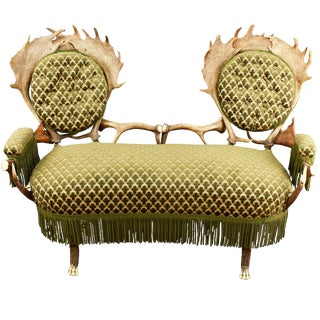 Two Seater Antler Settee, Austria Ca. 1880 For Sale