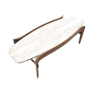 Mid-Century Walnut & Travertine Coffee Table For Sale