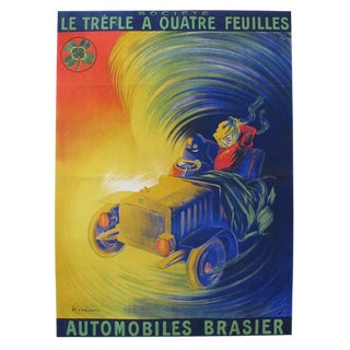 1906 Vintage French Large Car Poster, Trefle a Quatre Feuilles, Automobiles Brasier