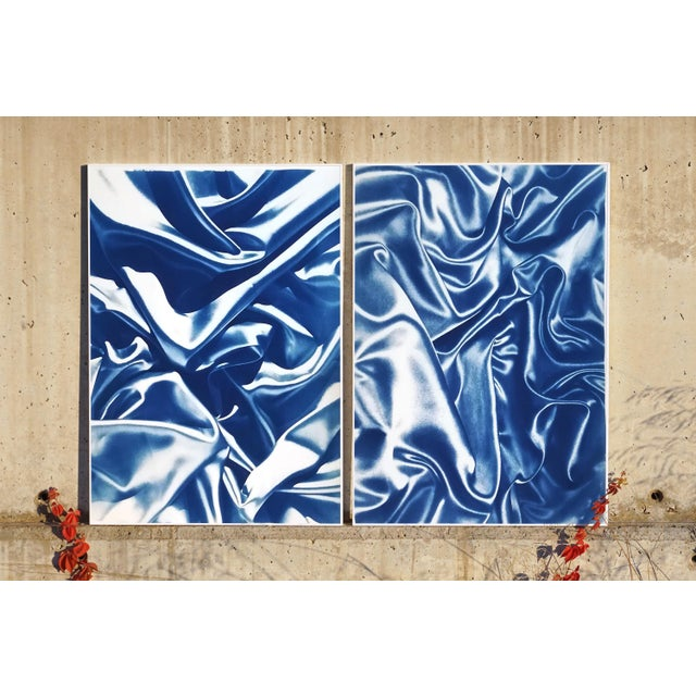 Contemporary Late Night Adventurous Duo (Of Silks), Classic Blue Handprinted Cyanotype on Watercolor Paper, Limited Edition For Sale - Image 3 of 12