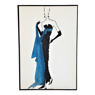 C1950s Mid-Century French Fashion Drawing, Matted For Sale