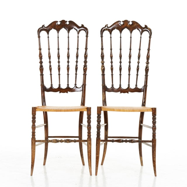 Italian Pair of Midcenty Chairs by Colombo Sanguineti for Chiavari 1950s For Sale - Image 3 of 7