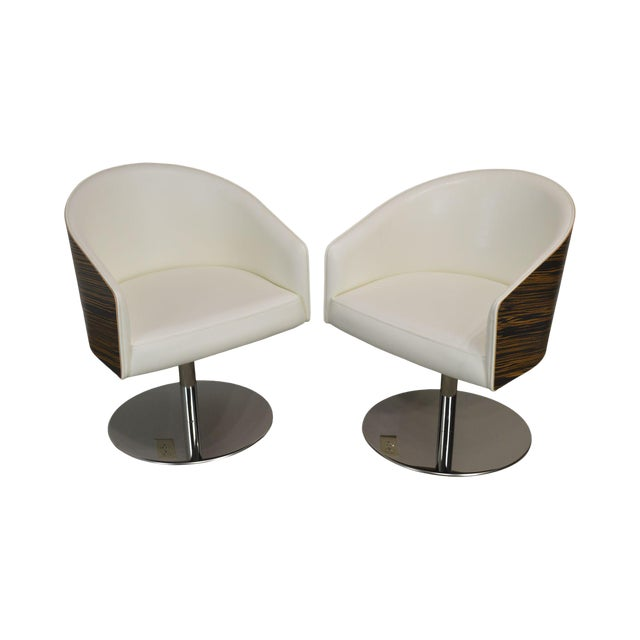 White Leather & Zebra Wood Barrel Back Pair Chrome Pedestal Swivel Lounge Chairs by Cape (B) For Sale