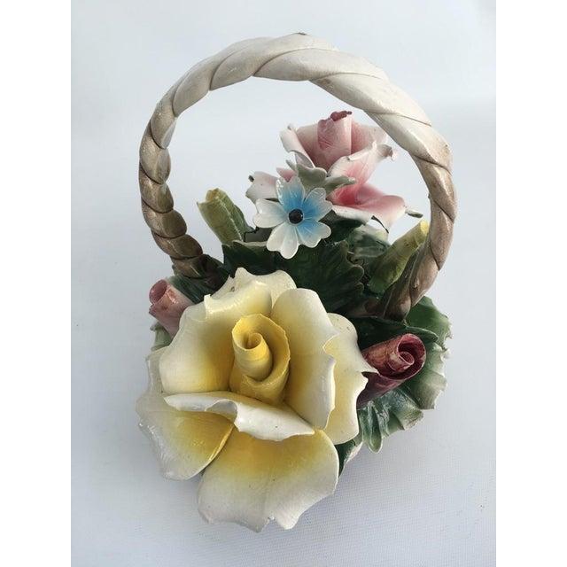 Ceramic Vintage Italian Crown Capodimonte Porcelain Floral Arrangement For Sale - Image 7 of 11