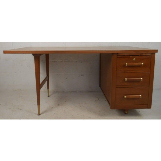 John Widdicomb Mid-Century Finished Back Executive Desk - Image 3 of 10