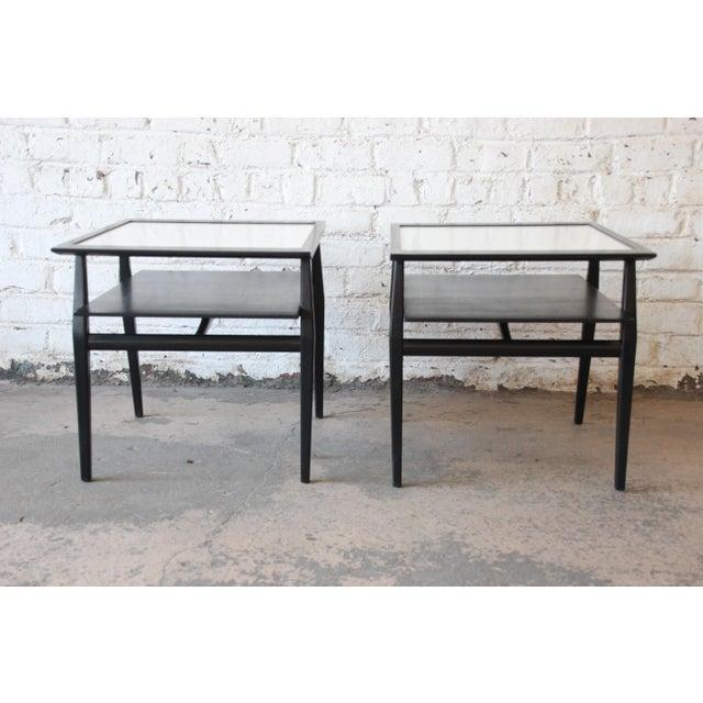 Danish Modern Bertha Schaefer for Singer & Sons Ebonized Mid-Century Modern End Tables- A Pair For Sale - Image 3 of 13
