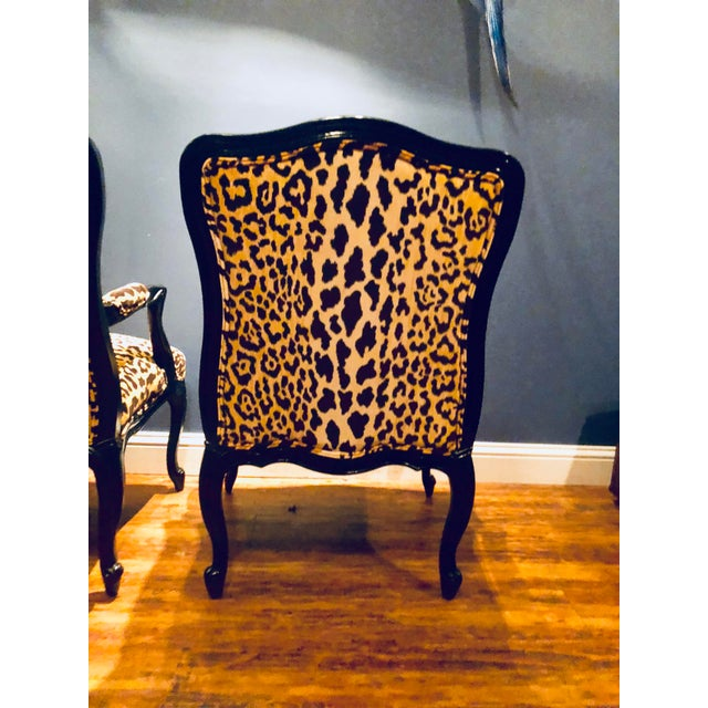 Black Lacquered Jamil Velvet Leopard Armchairs - A Pair For Sale - Image 9 of 14