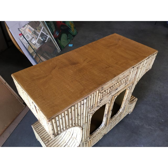 """Restored Stacked """"Anvil"""" Sofa Table Cabinet W/ Mahogany Top For Sale - Image 9 of 10"""