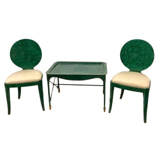 1980s Vintage Maitland Smith Faux Malachite Cocktail Set- 3 Pieces For Sale