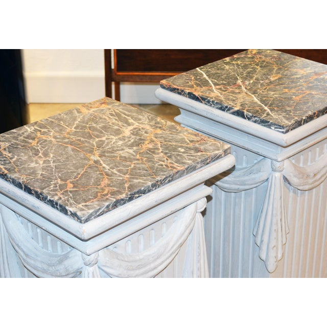 Mid-Century Modern Pair of Neoclassical Carved Gray Painted Gustavian Style Marble Top Pedestals For Sale - Image 3 of 13