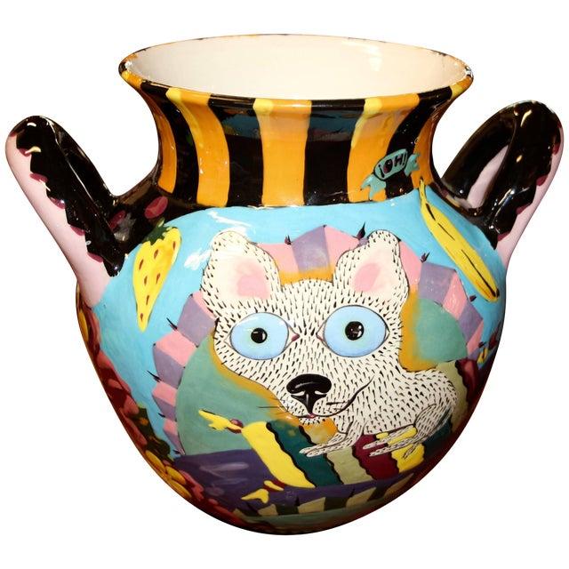 David Gurney Whimsical Glazed Vessel With Cat For Sale