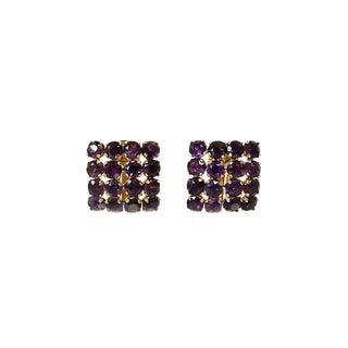 Vintage 18k Gold Amethyst Pierced Clip Back Earrings For Sale