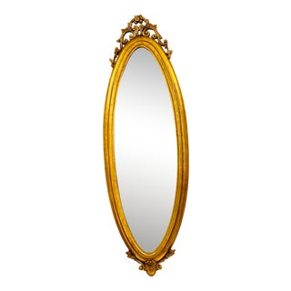 Oval Floral Large Pier Mirror & Marble Wood Table, 2 Pieces For Sale