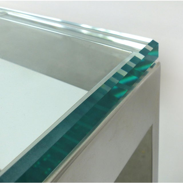 Contemporary Italian Stainless Steel & Glass Cube Coffee Tables, Two Available For Sale - Image 4 of 9