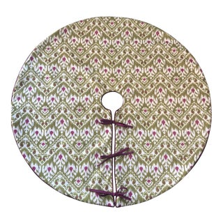 Green and Purple Ikat Tree Skirt For Sale