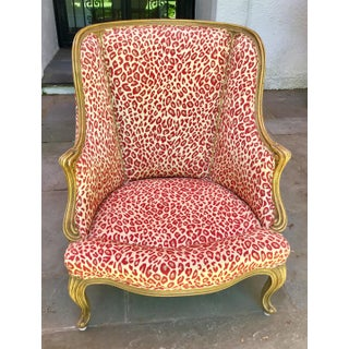 1940s Vintage French Red Leopard Upholstered Chair Preview