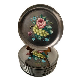 Edith Cockcroft Handpainted Floral Dishes - Set of 10 For Sale