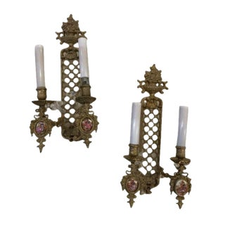 Louis XVI Two Arm Brass Wall Sconces - a Pair For Sale