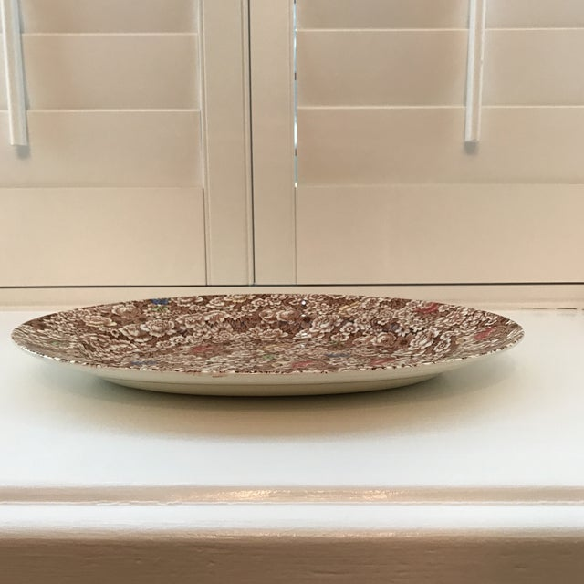 """1940s 1940s Vintage Empire England Brown Chintz """"Rosalie"""" Platter For Sale - Image 5 of 8"""