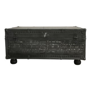 1940s French Country Metal Trunk For Sale