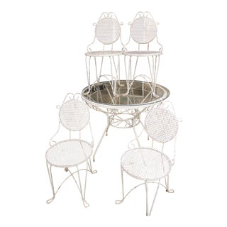 Vintage Round Patio Glass Top Table & Chairs - Dining Set